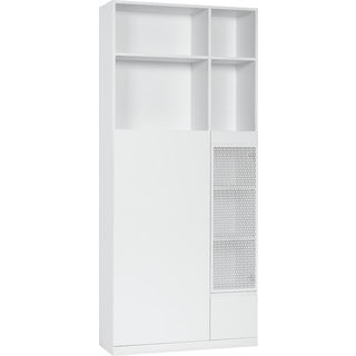 Voelkel Muto Collection White Wood 2-door Bookcase with Pierced-metal Door