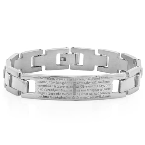 Steeltime Men's Stainless Steel 'Our Father' ID Bracelet