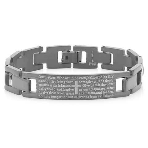 Men's Steeltime Black IP Our Father ID Bracelet