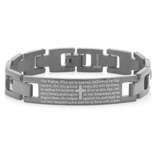 Men's Black IP Our Father ID Bracelet