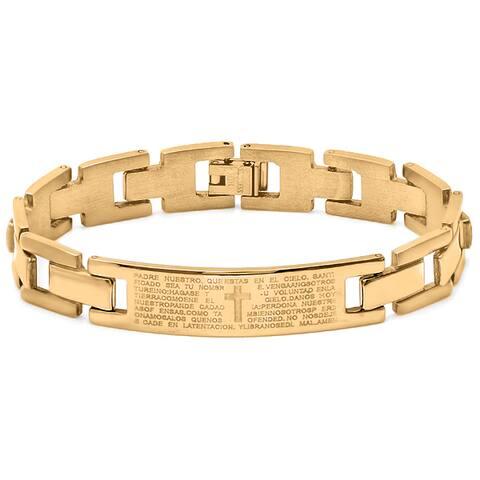 Steeltime Men's Gold Tone Padre Nuestro ID Bracelet