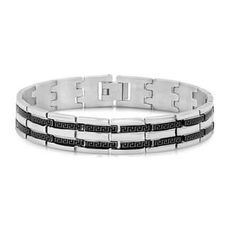 Silver and Black Stainless Steel Greek Key Bracelet