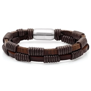 Men's Brown Leather Double-layered Bracelet