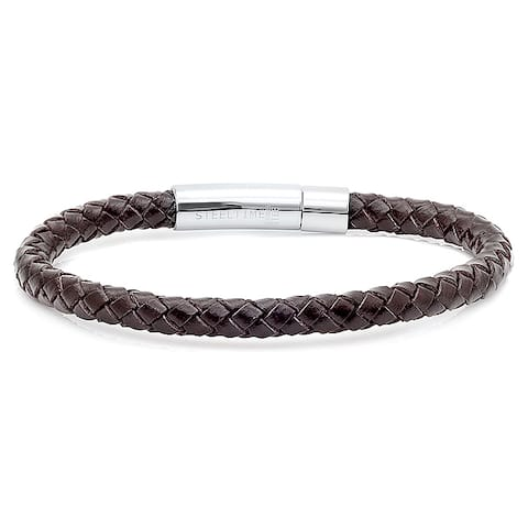 Men's Brown Leather Braided Bracelet