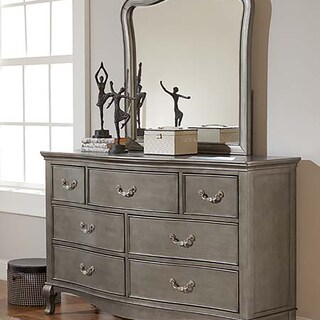Kensington Dresser with Mirror in Antique Silver Finish