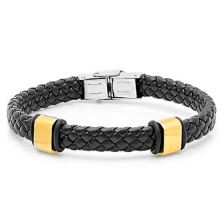 Men's Black Leather and 18k Gold-plated Bracelet