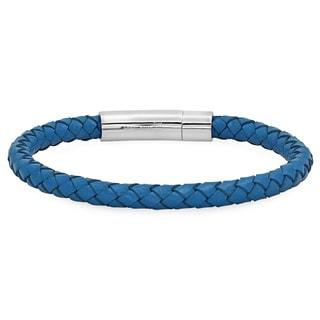 Men's Blue Leather Braided Bracelet