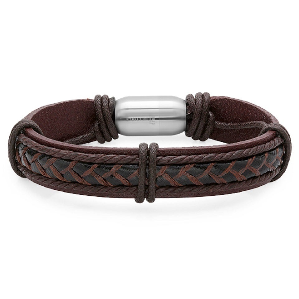 Steeltime Men's Genuine Leather Bracelet with Stainless S...
