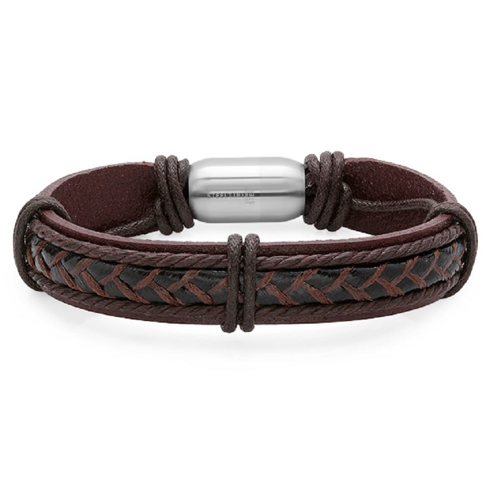 Men S Genuine Leather Bracelet With Stainless Steel Magnetic Clasp