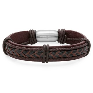 Men's Genuine Leather Bracelet with Stainless Steel Magnetic Clasp (2 options available)