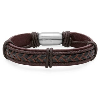 Men's Genuine Leather Bracelet with Stainless Steel Magnetic Clasp