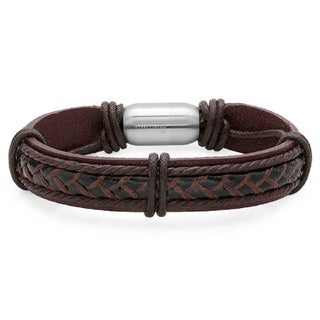Link to Men's Genuine Leather Bracelet with Stainless Steel Magnetic Clasp Similar Items in Men's Jewelry