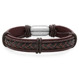 Men's Brown Genuine Leather Bracelet with Stainless Steel Magnetic Clasp