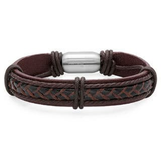 Men's Genuine Leather Bracelet with Stainless Steel Magnetic Clasp|https://ak1.ostkcdn.com/images/products/12545984/P19348540.jpg?impolicy=medium