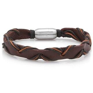 Men's Brown Leather Intertwined Bracelet