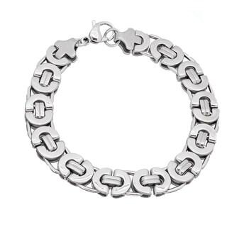Stainless Steel 8-inch Flat Byzantine Bracelet