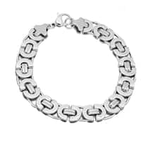 Steeltime Men's Stainless Steel Flat Byzantine Bracelet