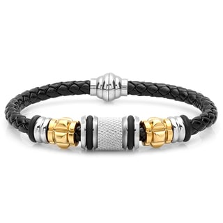 Black Leather and Two-tone Stainless Steel Bracelet