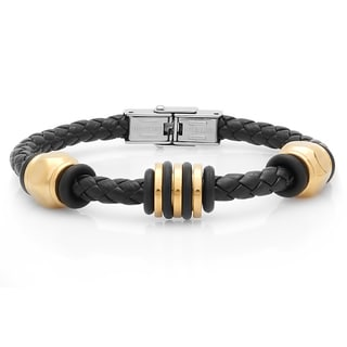 18k Goldplated Stainless Steel and Black Leather Bracelet