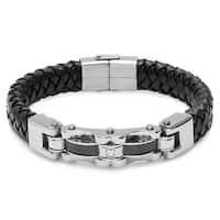 Black Carbon Fiber and Black Leather 8-inch Bracelet