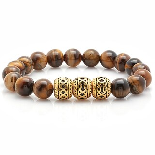 Steeltime Men's Gold Tone Tiger Eye Beaded Bracelet