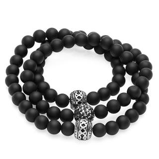 Black Lava Silvertone Beaded Wrap Bracelet