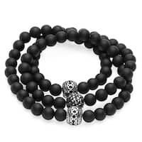 Steeltime Men's Stainless Steel Black Lava Beaded Wrap Bracelet/Necklace