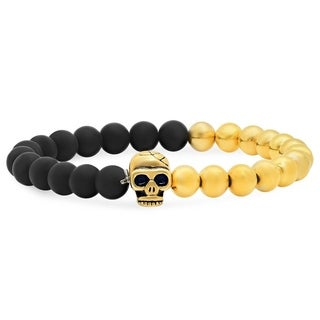 Men's Steeltime Black Lava and 18k Goldplated Skull Bracelet