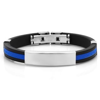 Men's Black and Blue Rubber ID Bracelet