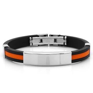 Men's Black and Orange Rubber ID Bracelet