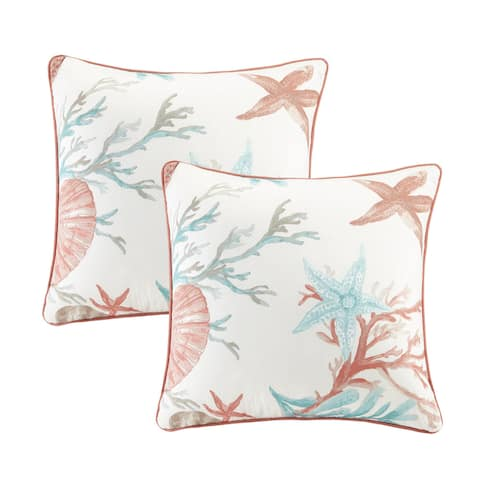 Madison Park Pacific Grove Coral Cotton Printed Square Throw Pillow Pair with Solid Reverse
