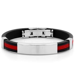 Black and Red Rubber ID Bracelet