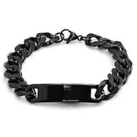 Black IP Stainless Steel Cuban ID Bracelet