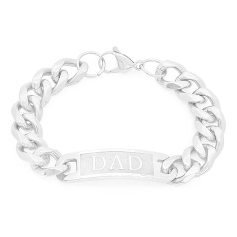 """Steeltime Men's Stainless Steel """"DAD"""" Cuban Bracelet"""