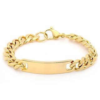 Steeltime Men's Gold Tone Cuban ID Bracelet