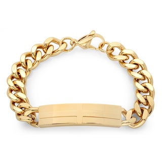 18k Goldplated 8-inch Long Cross ID Bracelet