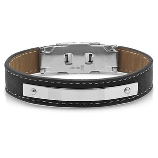 Black and Brown Leather Silvertone Bracelet