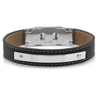Steeltime Men's Stainless Steel Black and Brown Leather Bracelet