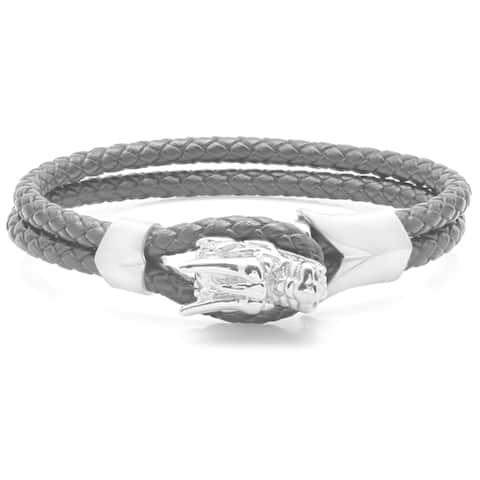 Steeltime Men's Stainless Steel Black Leather Dragon Bracelet