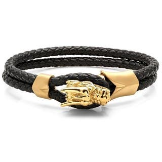 Men'S Braided Black Leather Gold-Plated Stainless Steel Dragon Bracelet|https://ak1.ostkcdn.com/images/products/12546106/P19348572.jpg?impolicy=medium