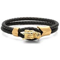 Men's Braided Black Leather Gold Tone Dragon Bracelet