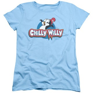 Chilly Willy/Logo Short Sleeve Women's Tee in Light Blue