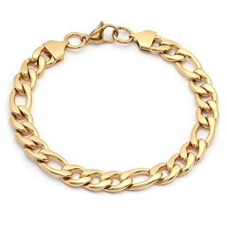 Steeltime Men's Gold Tone Figaro Chain Bracelet