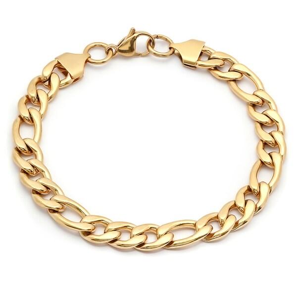 Steeltime Men's Gold Tone Figaro Chain Bracelet