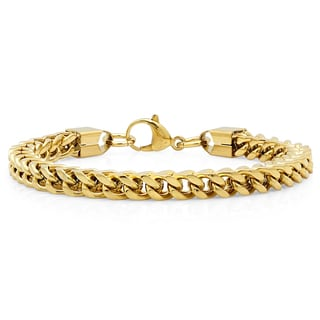 18k Gold-plated Stainless Steel 8-inch Franco Chain Bracelet
