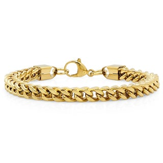 Link to Steeltime Men's Stainless Steel Franco Chain Bracelet in 2 Colors Similar Items in Men's Jewelry
