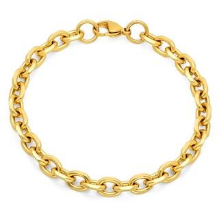 Steeltime Men's Gold Tone Circle Chain Bracelet