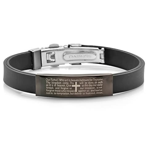 Men's Black Rubber and Black IP Our Father Lords Prayer ID Bracelet