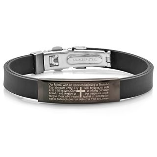 Men's Black Leather and Black IP Our Father ID Bracelet