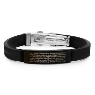 Black Leather/Ion-plated Stainless Steel 'Padre Nuestro' Bracelet